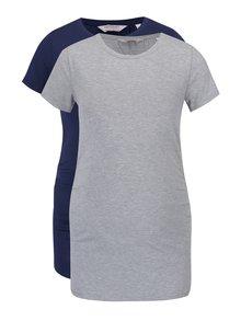 Súprava dvoch tehotenských tričiek v sivej a modrej farbe Dorothy Perkins Maternity
