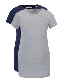 Set 2 tricouri lungi gri melanj și bleumarin  Dorothy Perkins Maternity