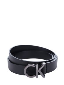 Čierny dámsky tenký kožený opasok Calvin Klein Skinny