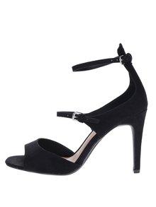 Čierne sandálky v semišovej úprave na ihlovom podpätku Dorothy Perkins