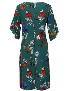 Zelené rovné šaty s volány na rukávech Dorothy Perkins Tall