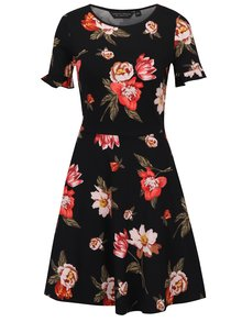 Rochie midi neagră cu print floral Dorothy Perkins