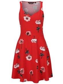 Rochie midi cloș roșie cu flori  Dorothy Perkins