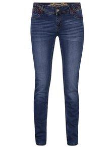 Modré slim džíny s nízkým pasem a výšivkami Desigual Refriposas