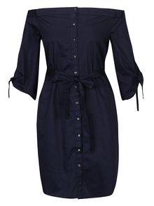 Tmavě modré košilové šaty s odhalenými rameny Dorothy Perkins
