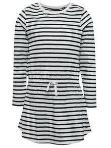 Čierno-biele dievčenské pruhované šaty Blue Seven