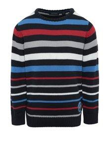 Tmavomodrý chlapčenský pruhovaný sveter Blue Seven