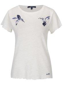 Krémové lněné dámské tričko s nášivkami kolibříků Pepe Jeans Bibi