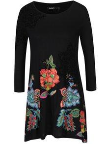 Čierne voľné kvetinové tričko s trojštvrťovým rukávom Desigual Amona