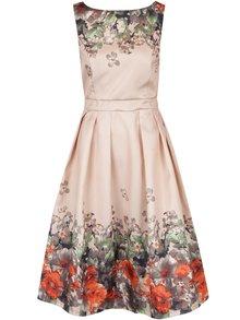 Béžové šaty s potlačou kvetín Mela London