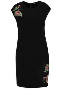 Rochie neagră tubulară cu print floral discret Desigual Brendan