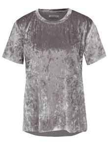 Šedé lesklé sametové tričko Haily´s Insa