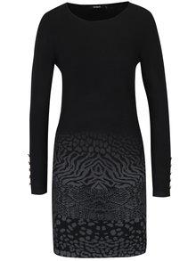 Černé vzorované svetrové šaty s příměsí vlny Desigual Granada