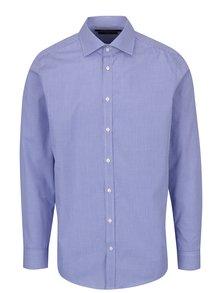 Modrá pánska slim fit košeľa s jemným vzorom STEVULA