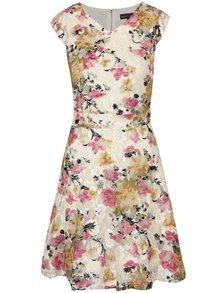 Béžovo-krémové květované šaty Mela London