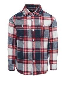 Červeno-modrá chlapčenská károvaná košeľa s potlačou Blue Seven