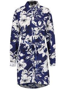 Krémovo-modré květované košilové šaty Mela London