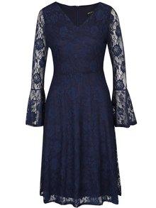 Tmavomodré čipkované šaty s dlhým rukávom Mela London
