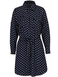 Tmavě modré košilové puntíkované šaty Mela London