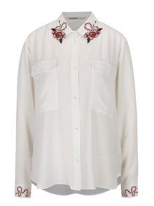 Krémová košeľa s výšivkami na golieri a rukávoch Desigual Melancolia