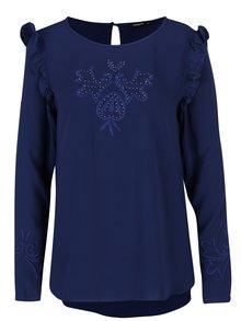 Bluză bleumarin cu volane scurte Desigual Mimosa