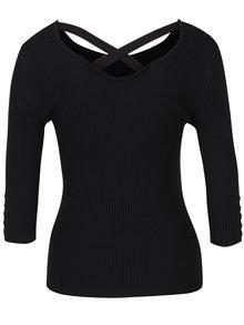 Černý žebrovaný svetr s 3/4 rukávy Haily´s Sharon