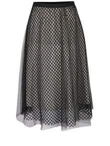 Krémovo-černá tylová midi sukně Haily´s Marina