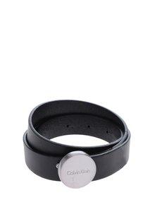 Čierny dámsky kožený opasok s ozdobnou sponou Calvin Klein Jeans Plaque