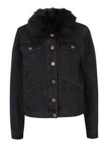 Čierna rifľová bunda s umelým kožúškom Haily´s Leonie