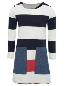 Krémovo-modré holčičí pruhované šaty s kapsami Tom Joule Sadie