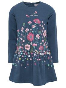 Modré holčičí šaty s potiskem květin BÓBOLI