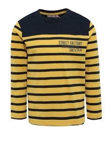 Modro-žlté chlapčenské pruhované tričko s dlhým rukávom BÓBOLI