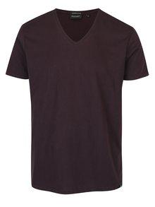 Tmavě fialové pánské žíhané basic tričko s véčkovým výstřihem Broadway Garet
