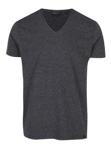Tmavosivé pánske melírované basic tričko s véčkovým výstrihom Broadway Garet