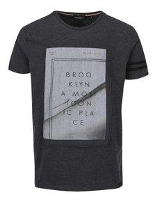 Tmavě šedé pánské žíhané tričko s potiskem Broadway Niels