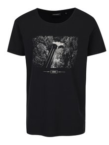 Tricou negru cu print crem Broadway Nazario