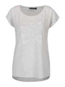 Světle šedé dámské volné žíhané tričko s plastickými detaily Broadway Lene