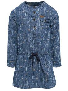 Modré holčičí květované šaty s dlouhým rukávem BÓBOLI