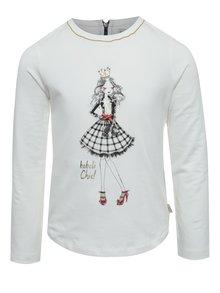 Krémové holčičí tričko s potiskem a zipem na zádech BÓBOLI