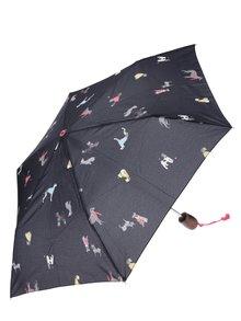 Černý skládací deštník s motivem psů Tom Joule Brolly