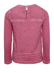 Ružové melírované dievčenské tričko s potlačou a dlhým rukávom BÓBOLI