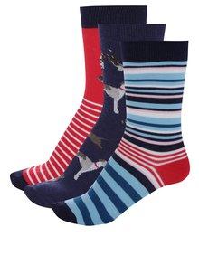 Súprava troch párov chlapčenských pruhovaných ponožiek v červenej a modrej farbe Tom Joule Bike