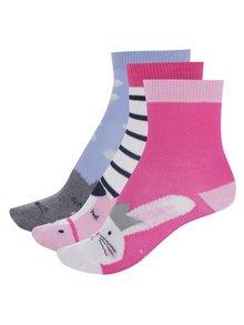 Súprava troch párov dievčenských vzorovaných ponožiek v ružovej farbe Tom Joule Multi