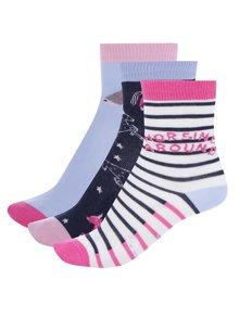 Sada třech párů holčičích vzorovaných ponožek v růžové a modré barvě Tom Joule Horse