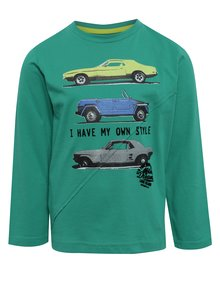 Zelené chlapčenské tričko s potlačou a dlhým rukávom BÓBOLI