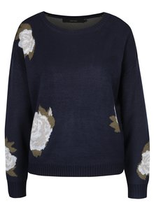 Tmavomodrý kvetovaný sveter VERO MODA Belmont