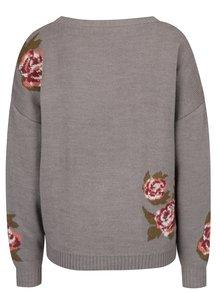 Šedý květovaný svetr VERO MODA Belmont