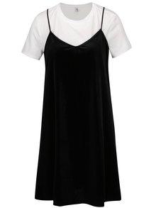 Černé sametové šaty s všitým tričkem ONLY Tara