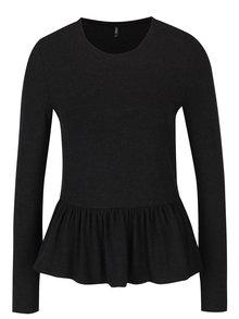 Čierne žíhané tričko s volánom ONLY Olivia