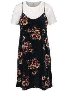 Tmavomodré kvetované zamatové šaty s všitým tričkom ONLY Tara